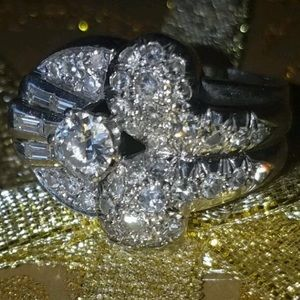 1940s Diamond Platinum Ring Size 7